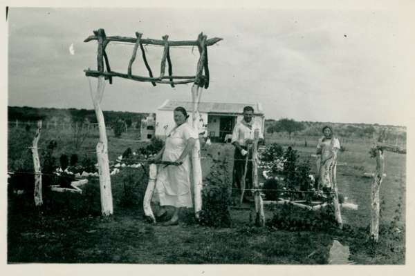 Two women and one man gardening in front of house