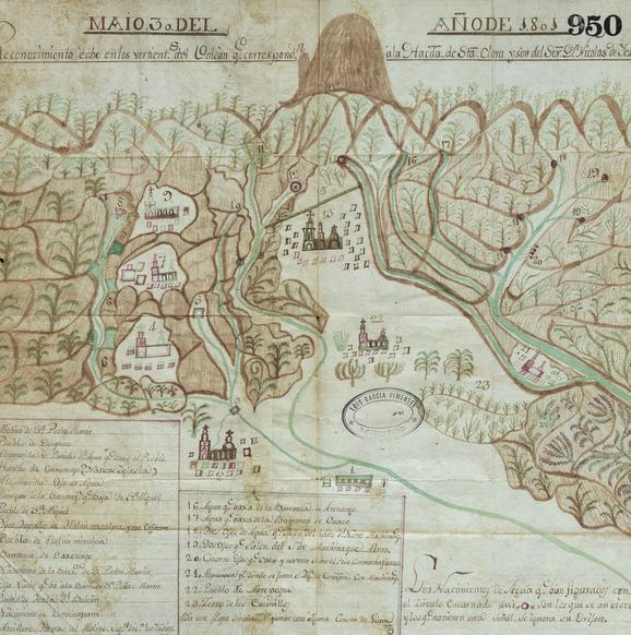 Map from Autos establecidos entre los dueños de las Haciendas Santa Ana Tenango y Santa Clara de Montefalco. 1823.  George A. Smathers Libraries, University of Florida