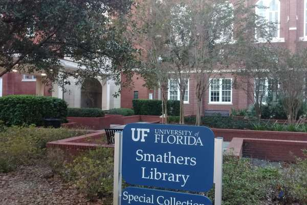 Smathers Library showing exterior signage