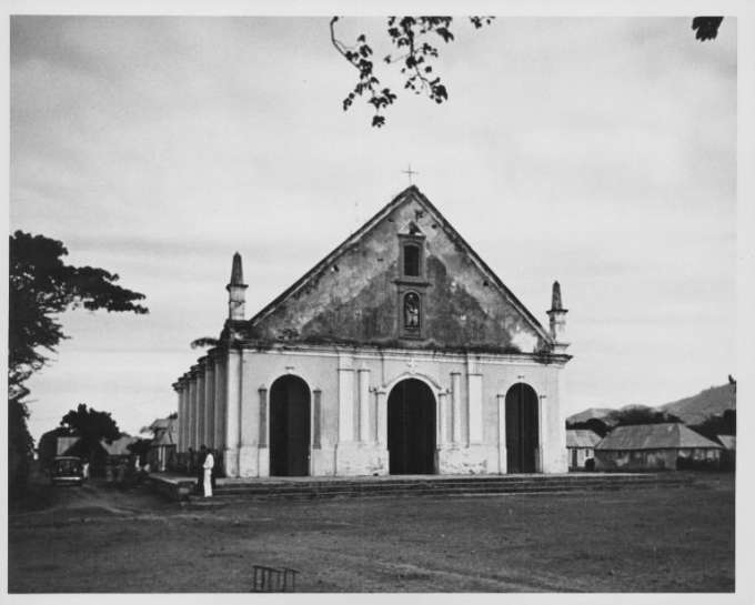 Photograph of church in town square at Fond Verettes, Haiti