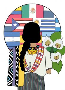 Original artwork showing a woman carrying three peace lilies, facing a collage of flags representing Latin American countries.