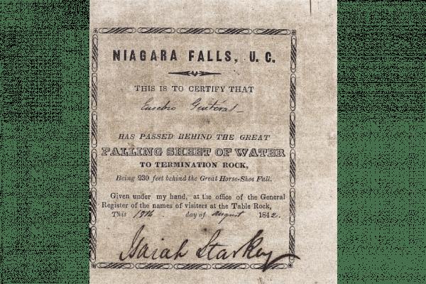 Printed form showing that Eusebio Guiteras crossed Niagara Falls