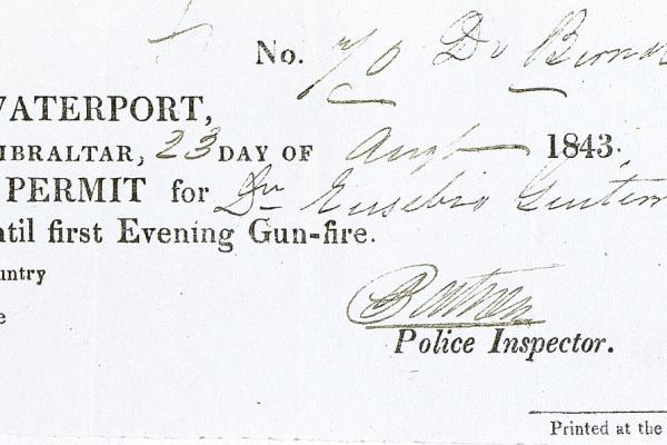 Passport for Eusebio Guiteras at Gibraltar