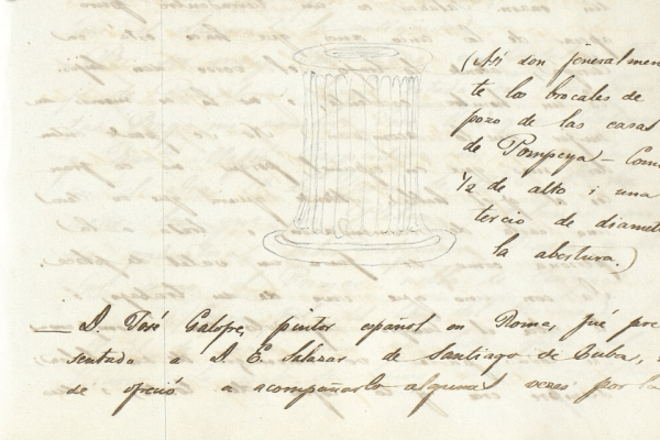 Section of column from Pompeii ruins sketched by Eusebio Guiteras, 1820s