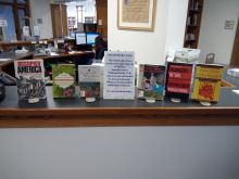 A book display for Banned Books Week 2021